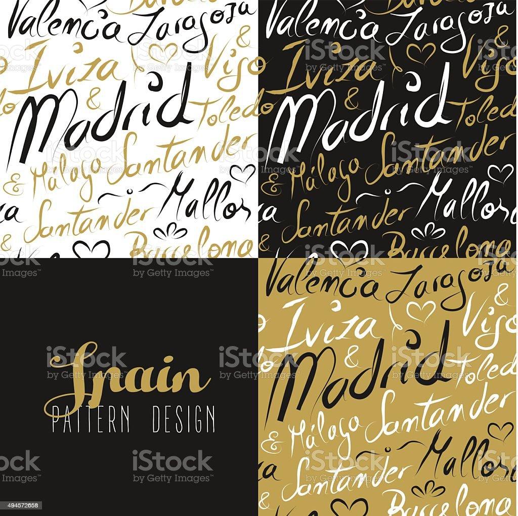 Travel spain europe seamless pattern gold madrid vector art illustration