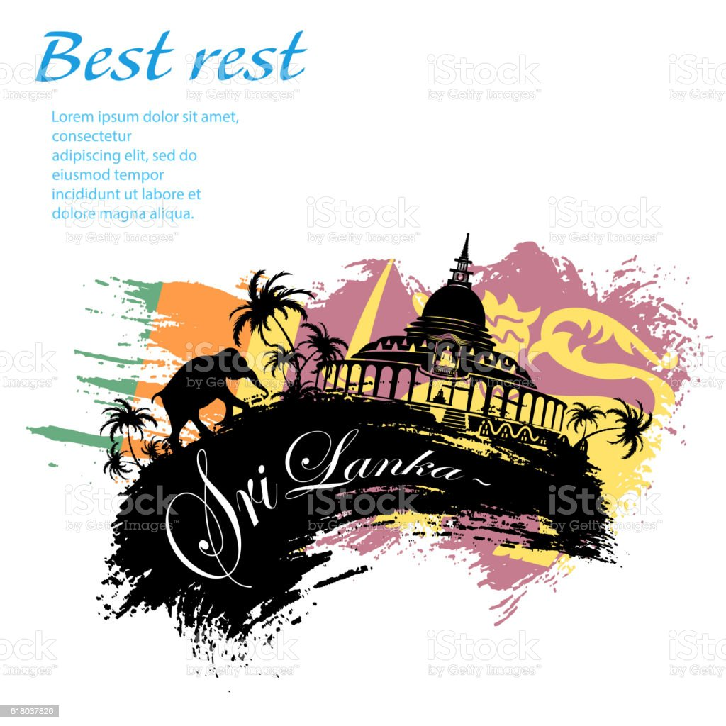Travel Sri Lanka grunge style vector art illustration