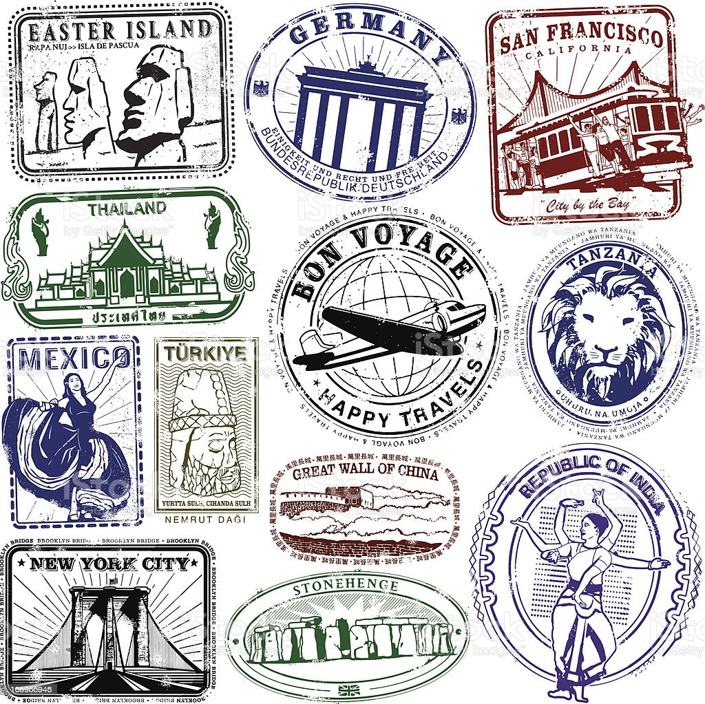 Travel Stamps Bon Boyage royalty-free stock vector art