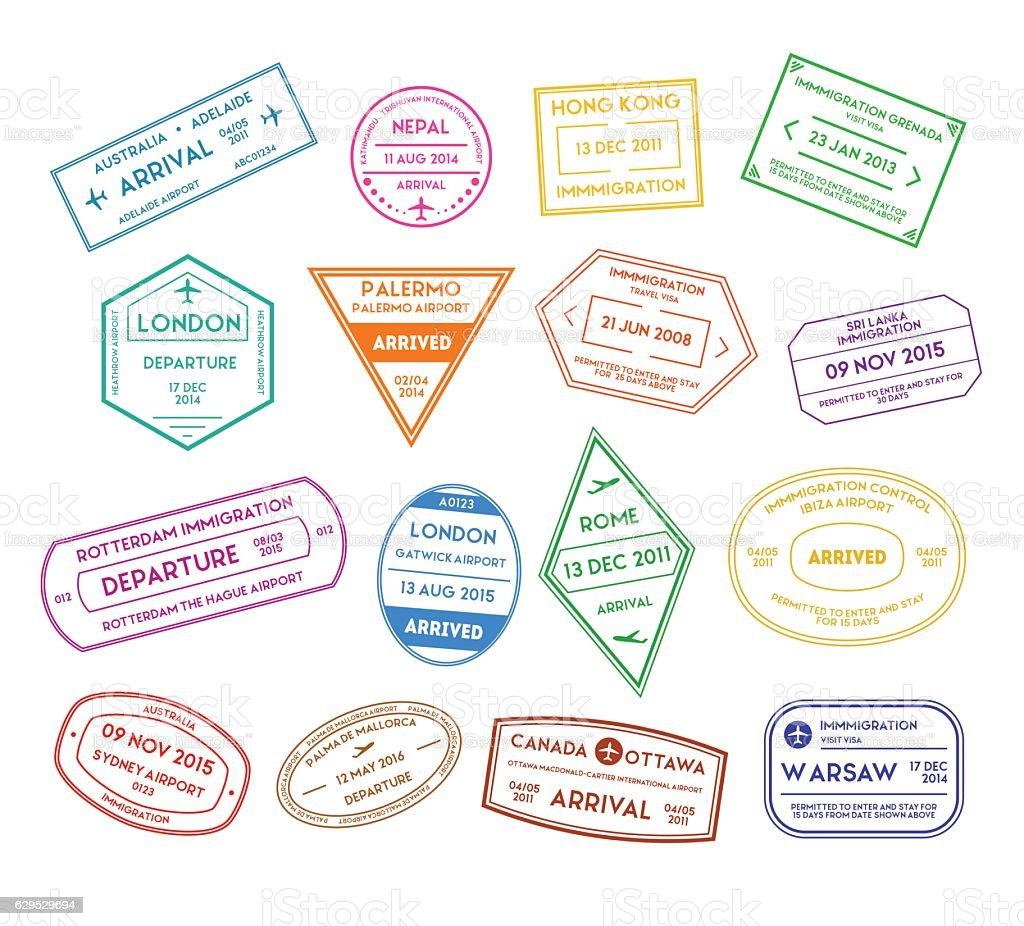 Travel Stamps Color Set. Vector vector art illustration