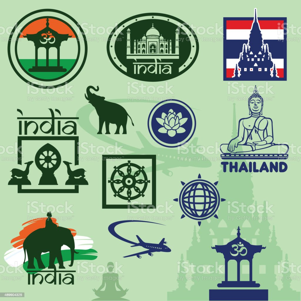 Travel stamps India and Thailand vector art illustration