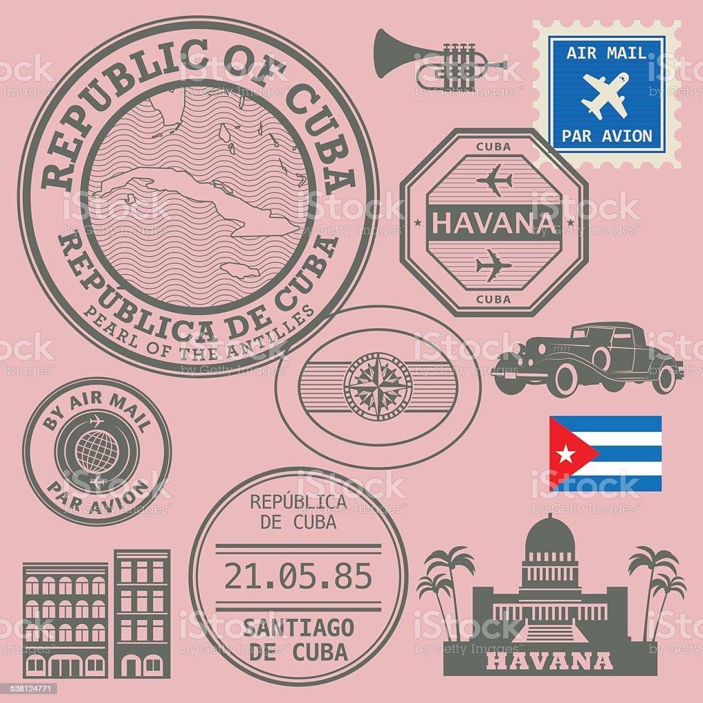 Travel stamps set vector art illustration