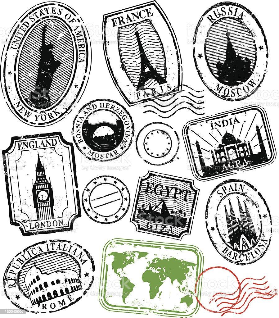 Travel Stamps vector art illustration