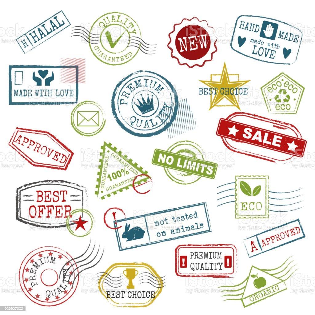 Travel stamps vector. vector art illustration