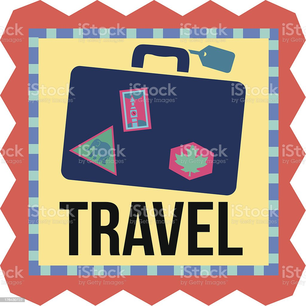 travel sticker or luggage tag vector art illustration