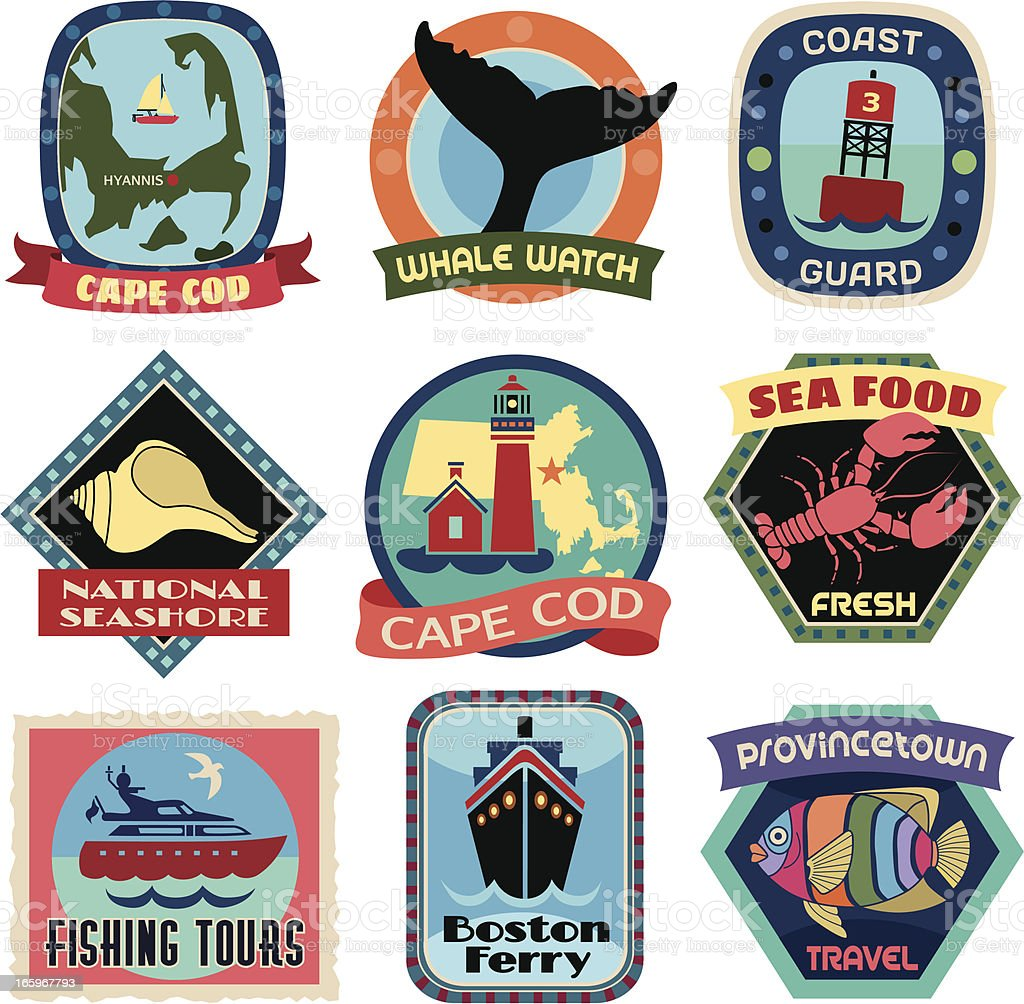 Travel Stickers Cape Cod royalty-free stock vector art