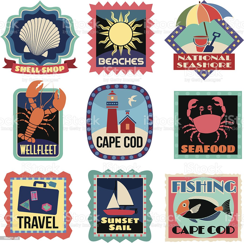 Travel Stickers Cape Cod vector art illustration