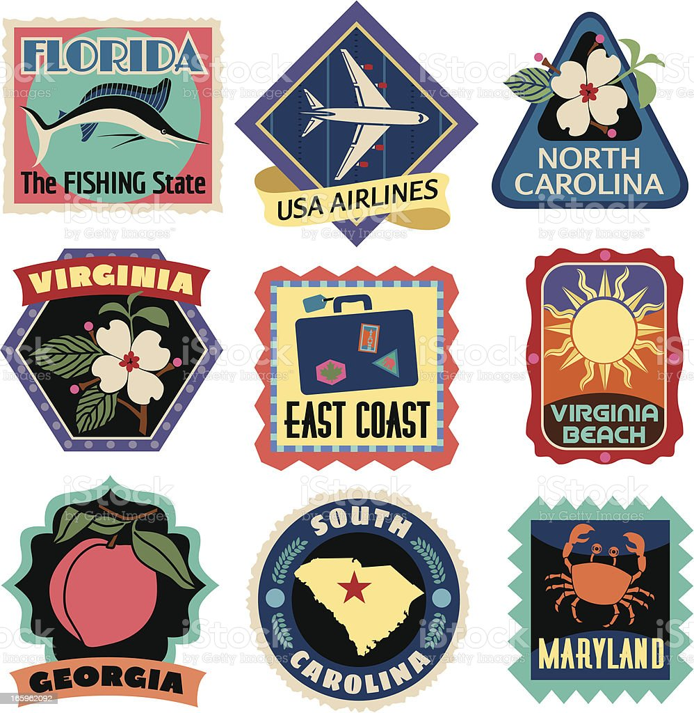 Travel Stickers East Coast Usa Stock Vector Art 165962092