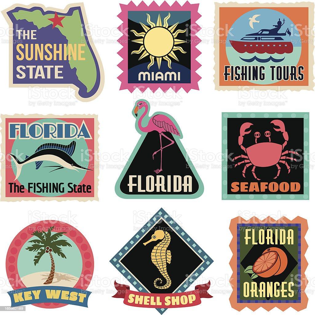 Travel Stickers Florida vector art illustration