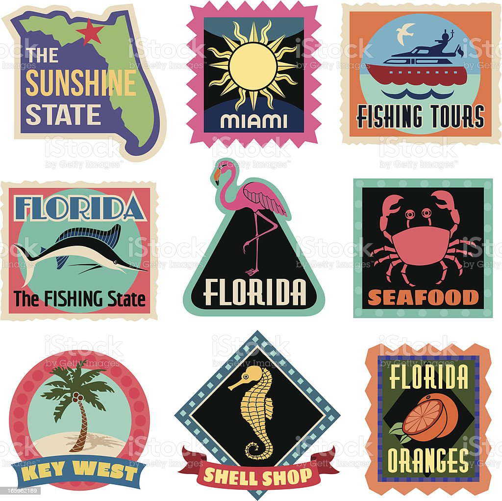 Travel Stickers Florida vector art illustration
