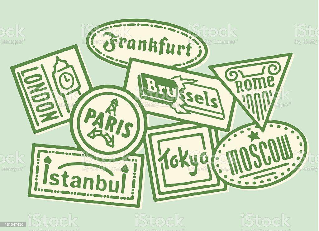 Travel Stickers vector art illustration