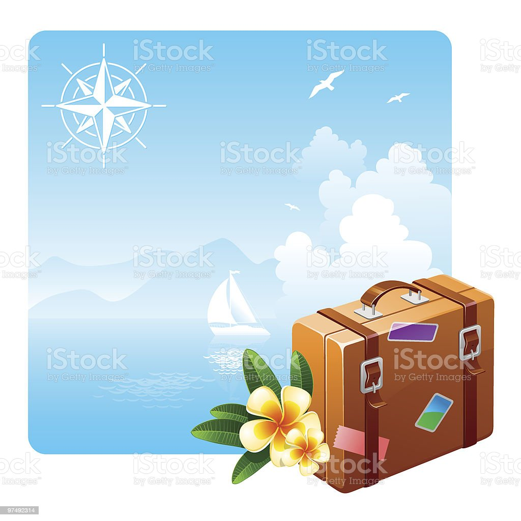 Travel suitcase and tropical flowers against a idyllic landscape royalty-free stock vector art