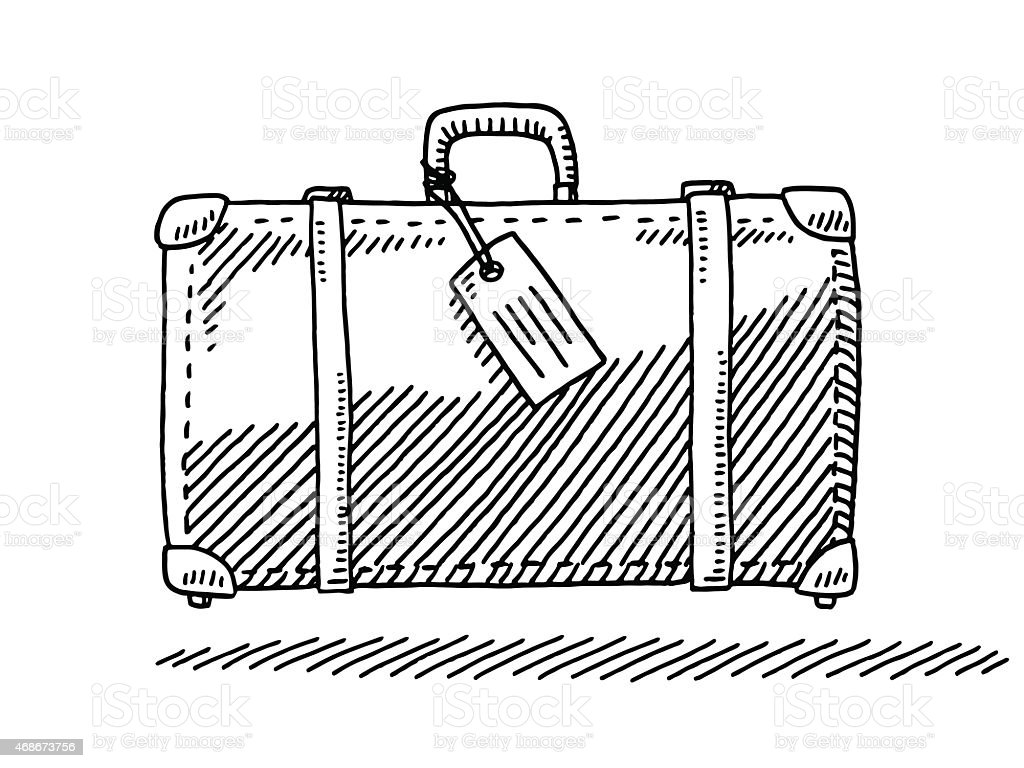 Travel Suitcase Luggage Tag Side View Drawing vector art illustration
