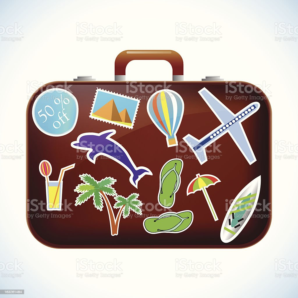 Travel Suitcase with Stickers. Isolated royalty-free stock vector art