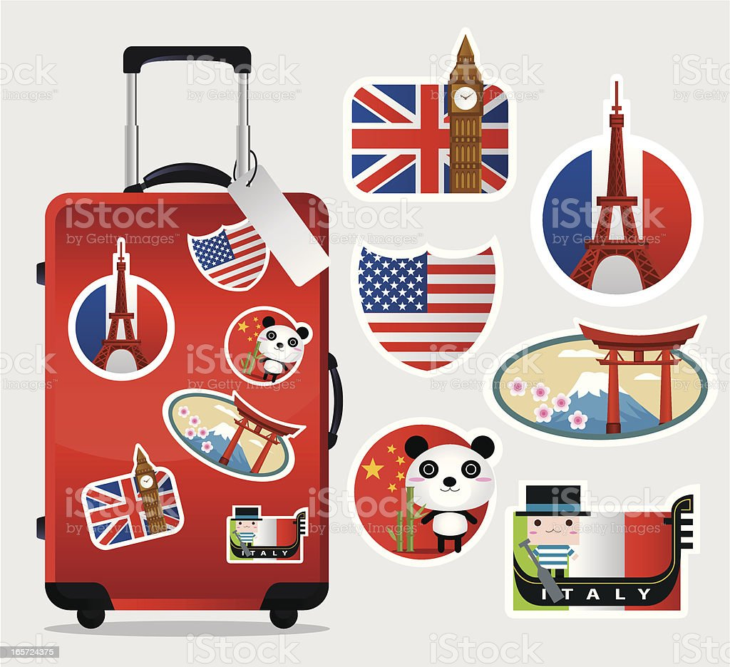 Travel Suitcase with stickers vector art illustration