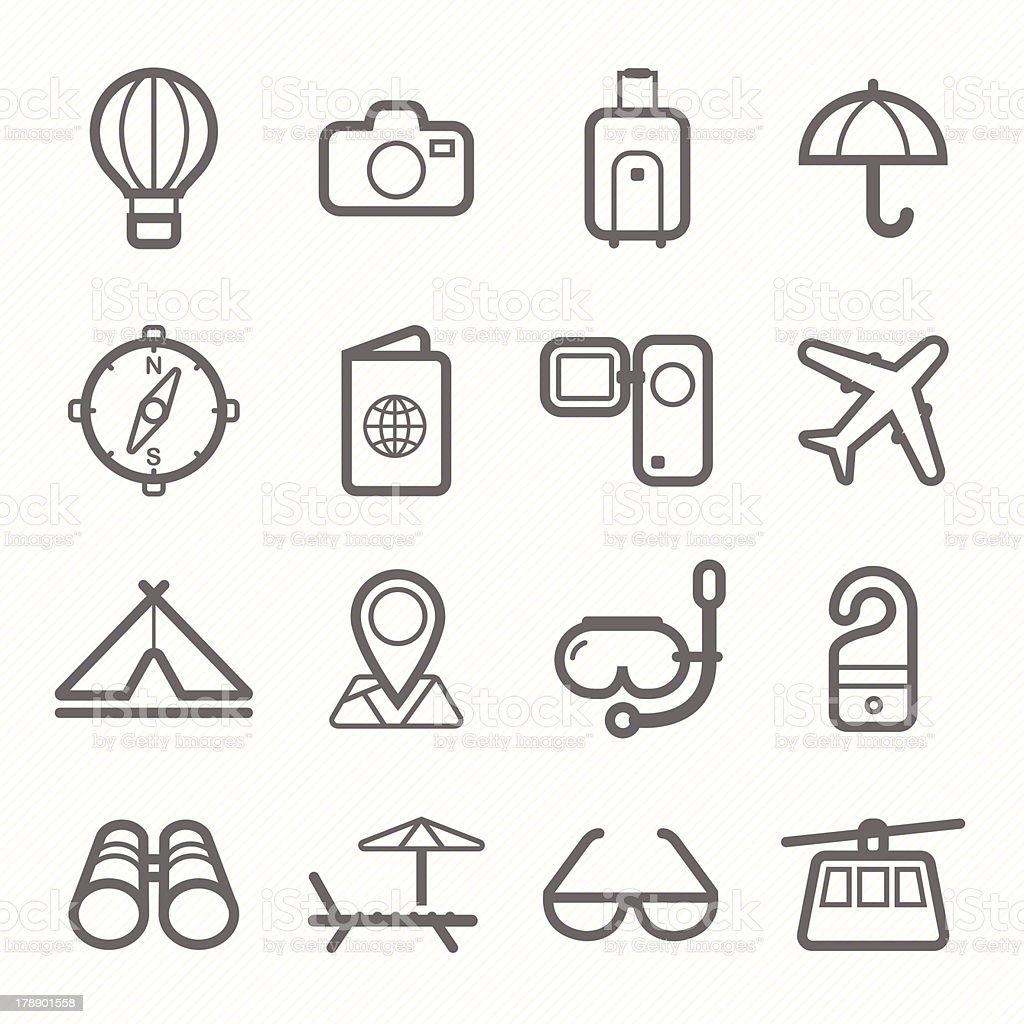 travel symbol line icon set royalty-free stock vector art