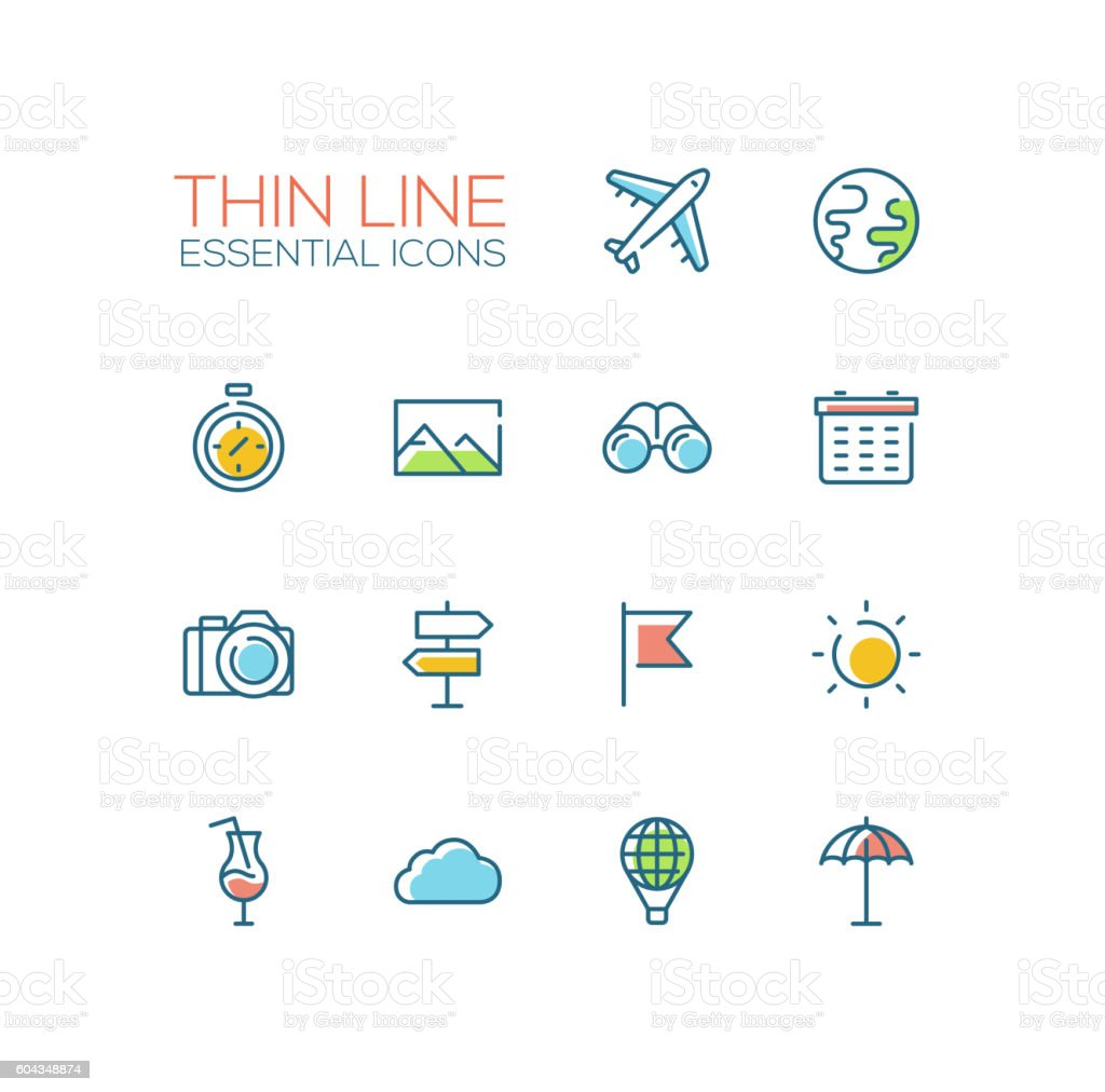 Travel Symbols - thick line design icons set vector art illustration