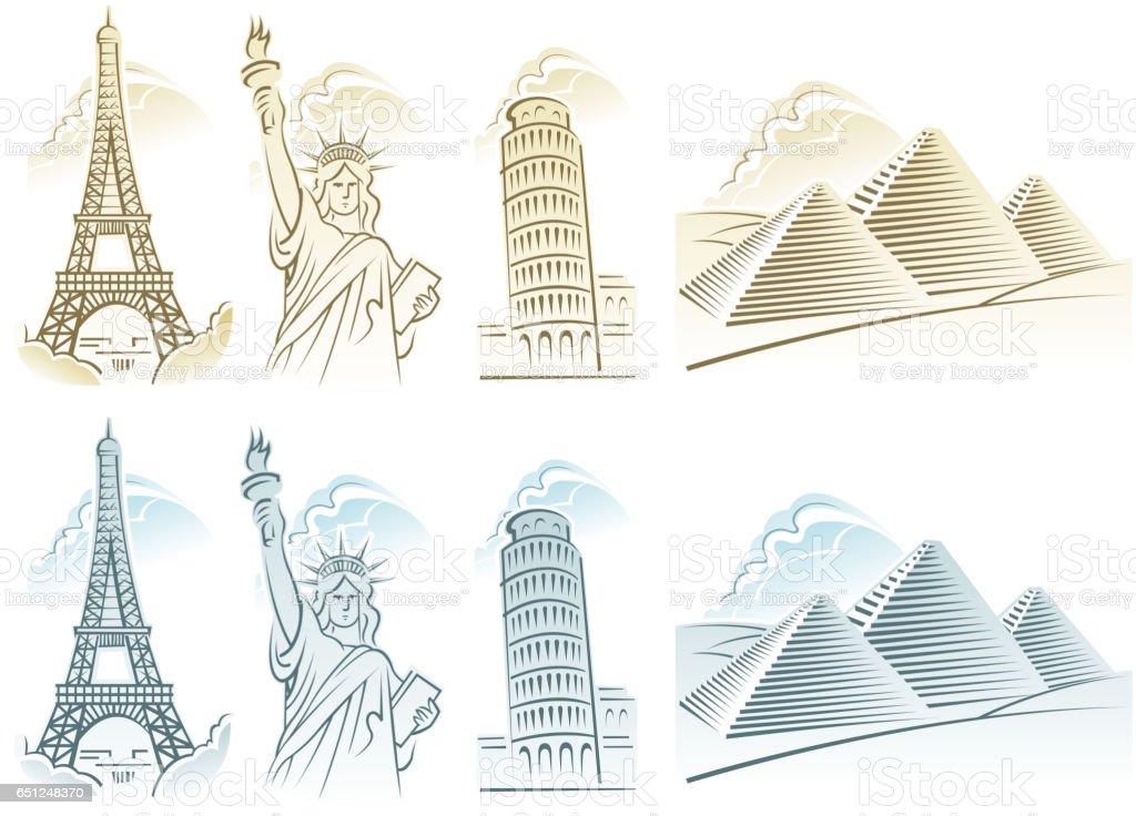 travel symbols vector art illustration