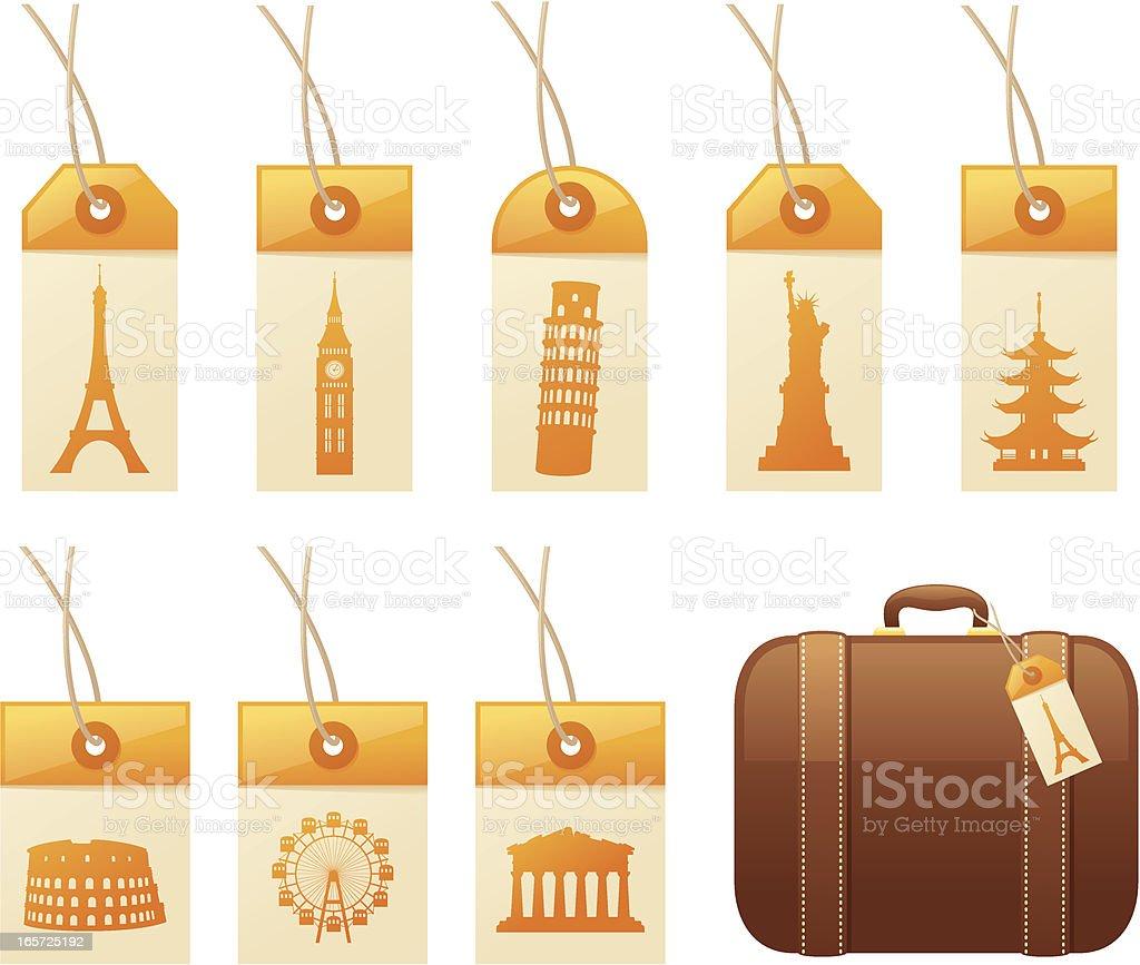 Travel Tags vector art illustration