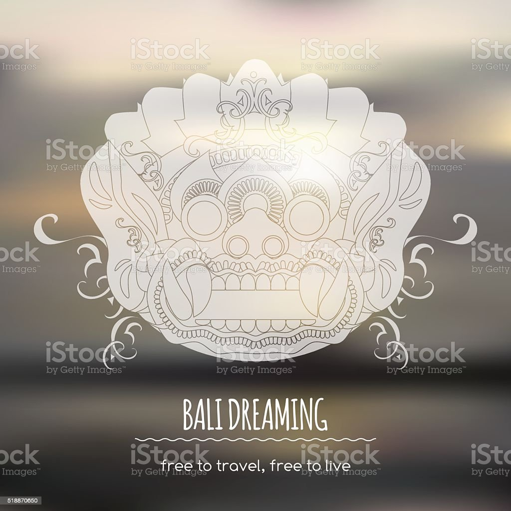 Travel template with Balinese ethnic Barong mask vector art illustration
