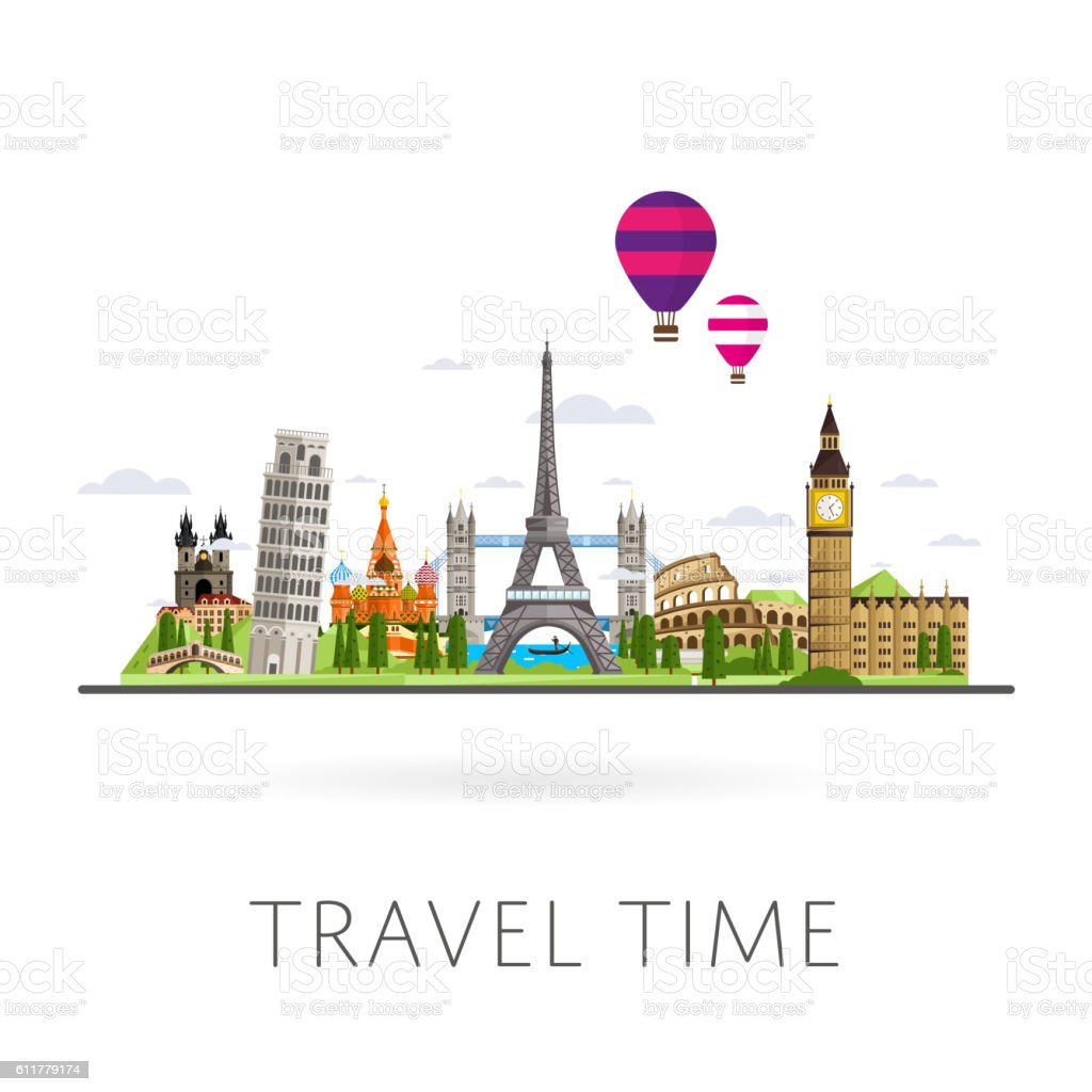 Travel the world. Monument concept. Road trip. vector art illustration