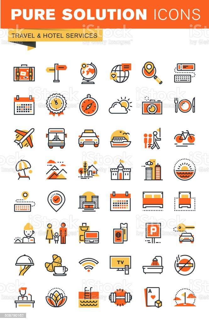 Viaje delgado línea Web iconos colección diseño plano illustracion libre de derechos libre de derechos