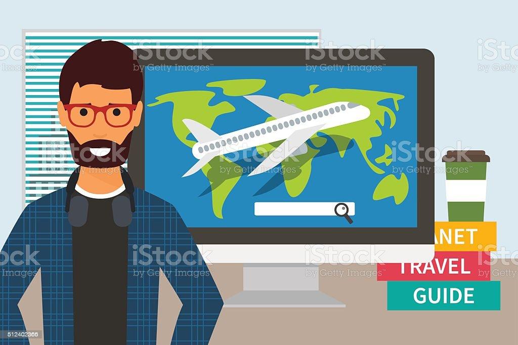 Travel time vacation vector art illustration