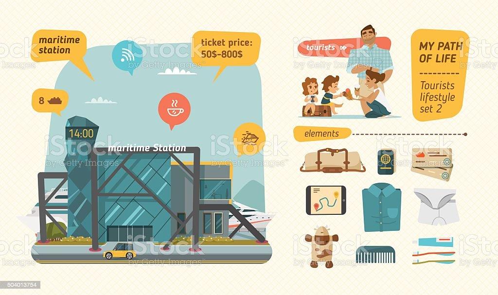 Travel time with marinetime station vector art illustration