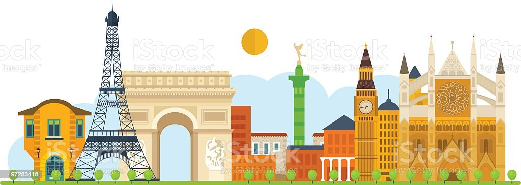Travel to Europe. French and England landmarks vector art illustration