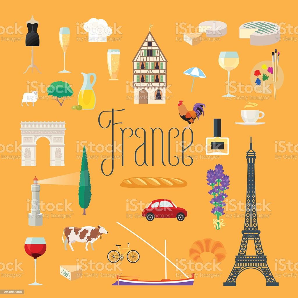 Travel to France vector icons set. French landmarks vector art illustration