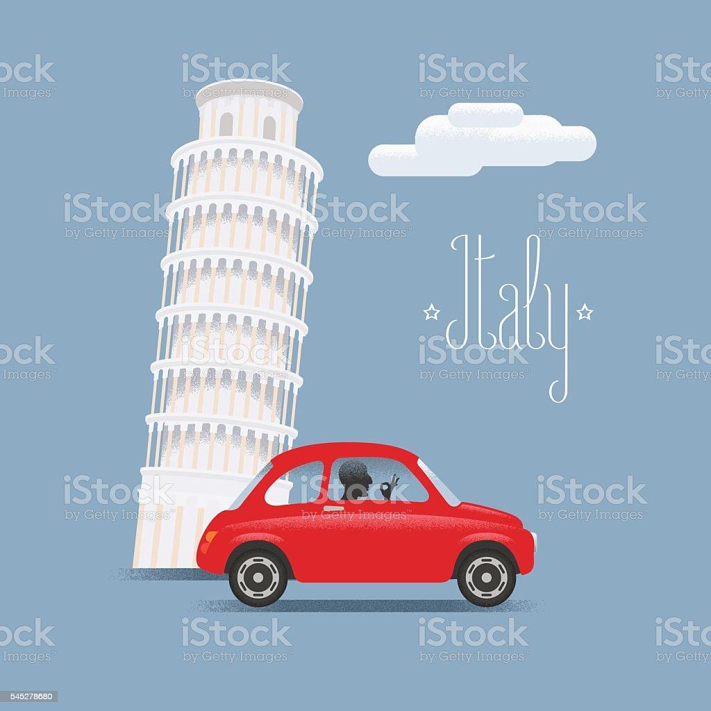 Travel to Italy vector illustration. Design element with Italian Pisa vector art illustration
