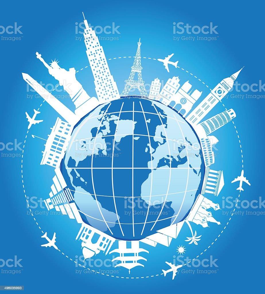 Travel to Landmarks around the world vector art illustration