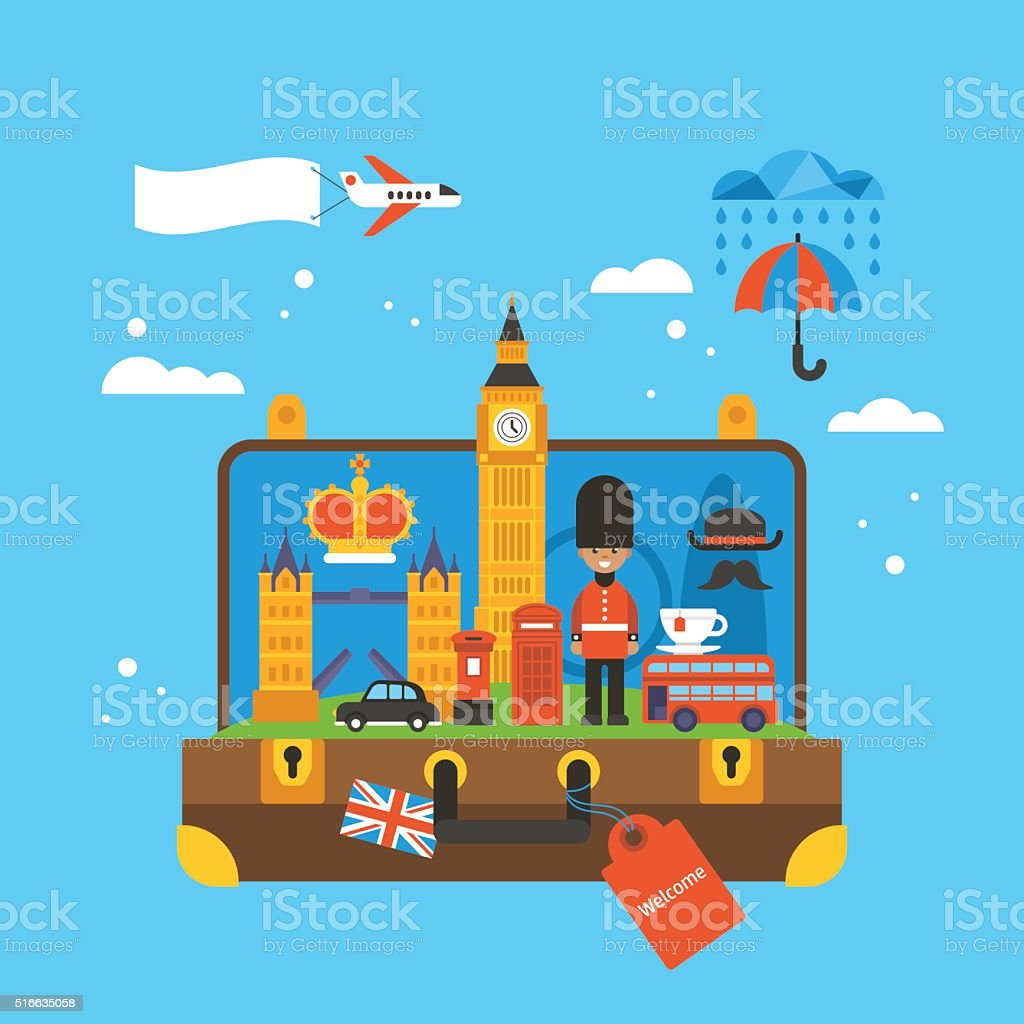 Travel to London, Great Britain concept with landmark icons vector art illustration