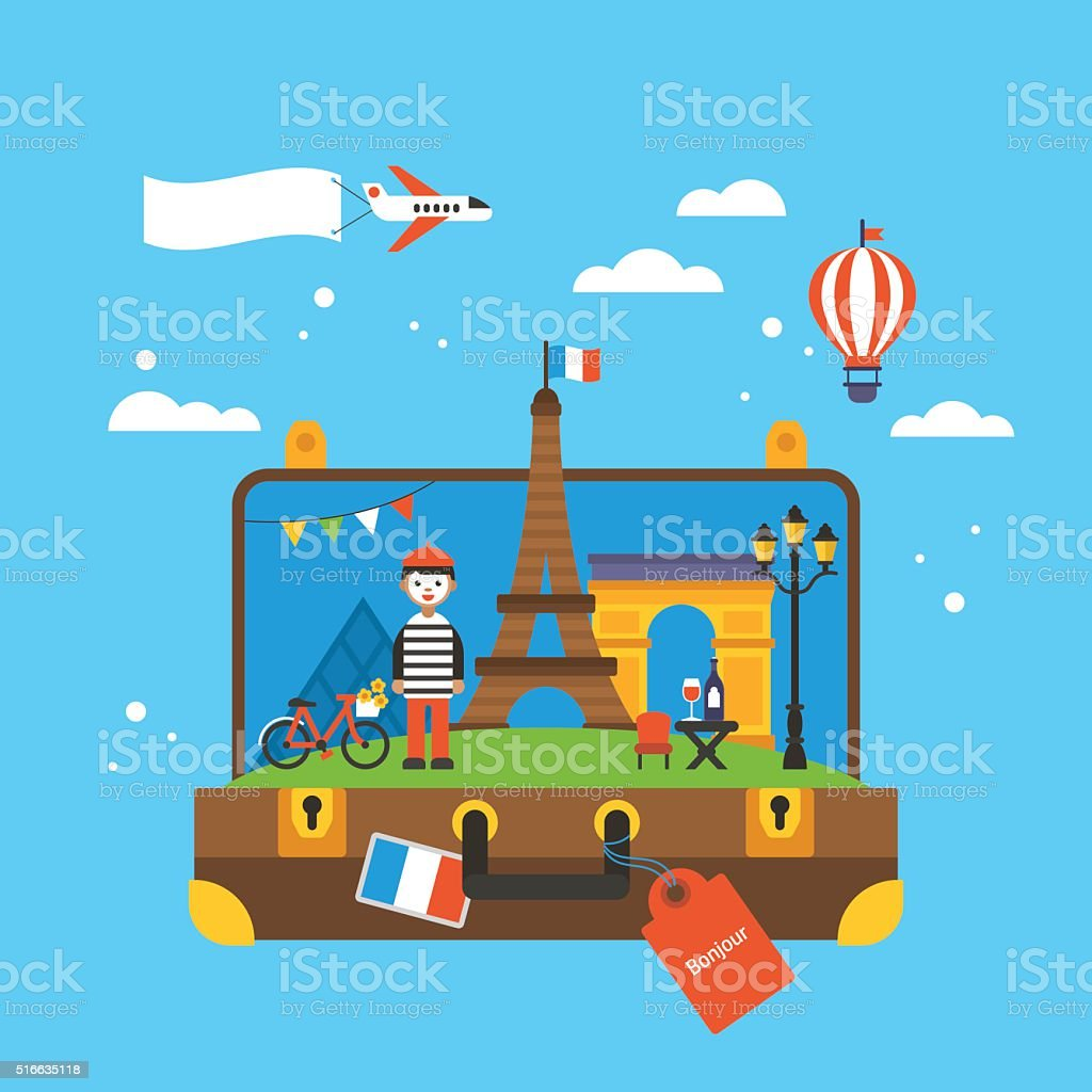 Travel to Paris, France concept with landmark icons inside suitcase vector art illustration