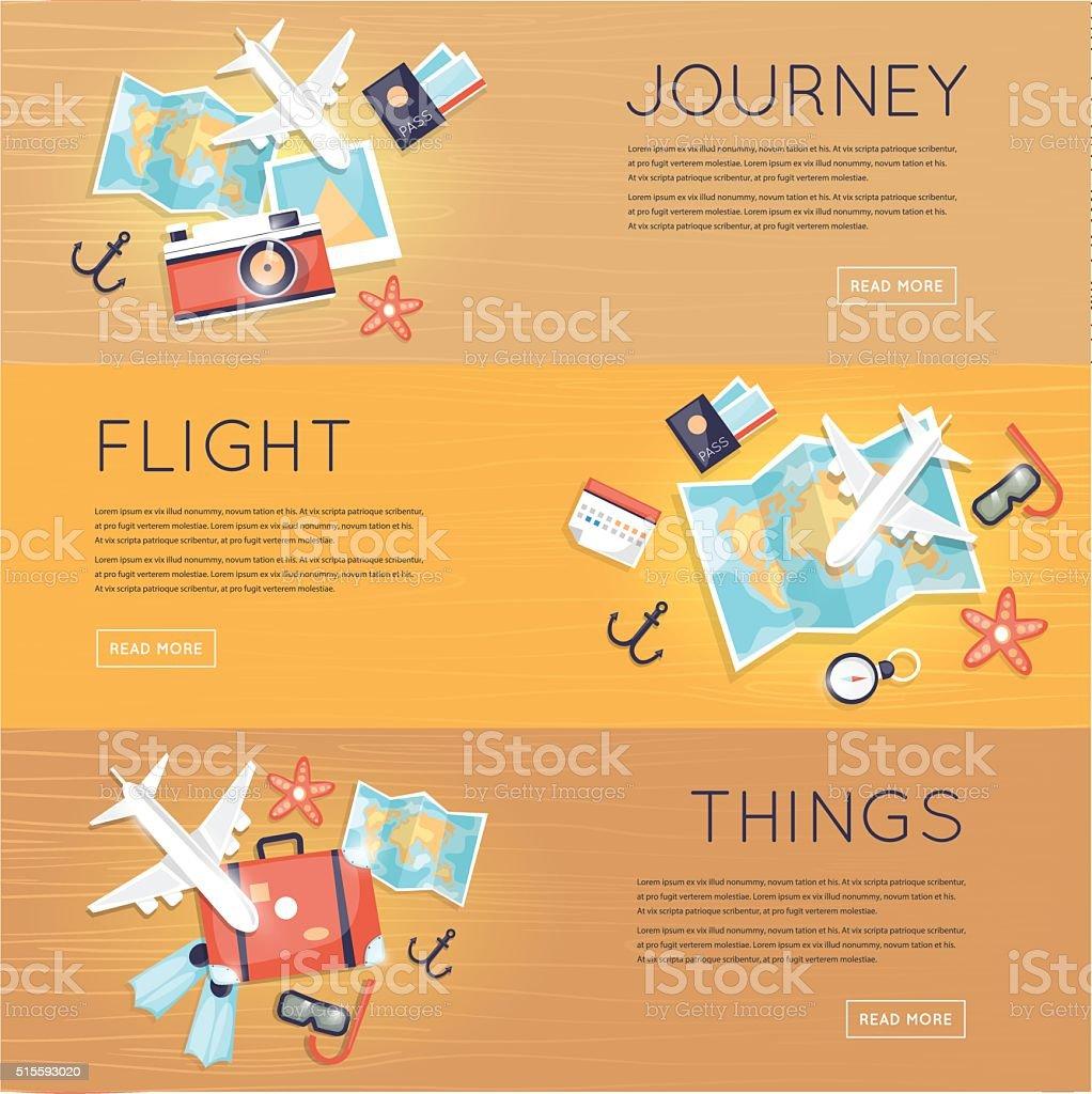 Travel to World. Trip plan. Planning a summer vacation. vector art illustration