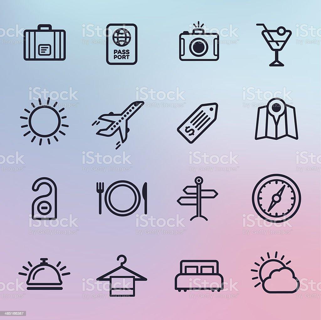 Travel & Tourism Line Icons vector art illustration