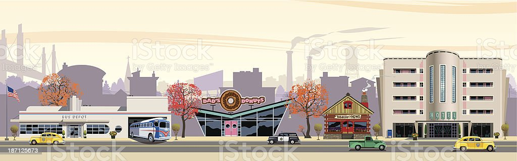 Travel Town vector art illustration