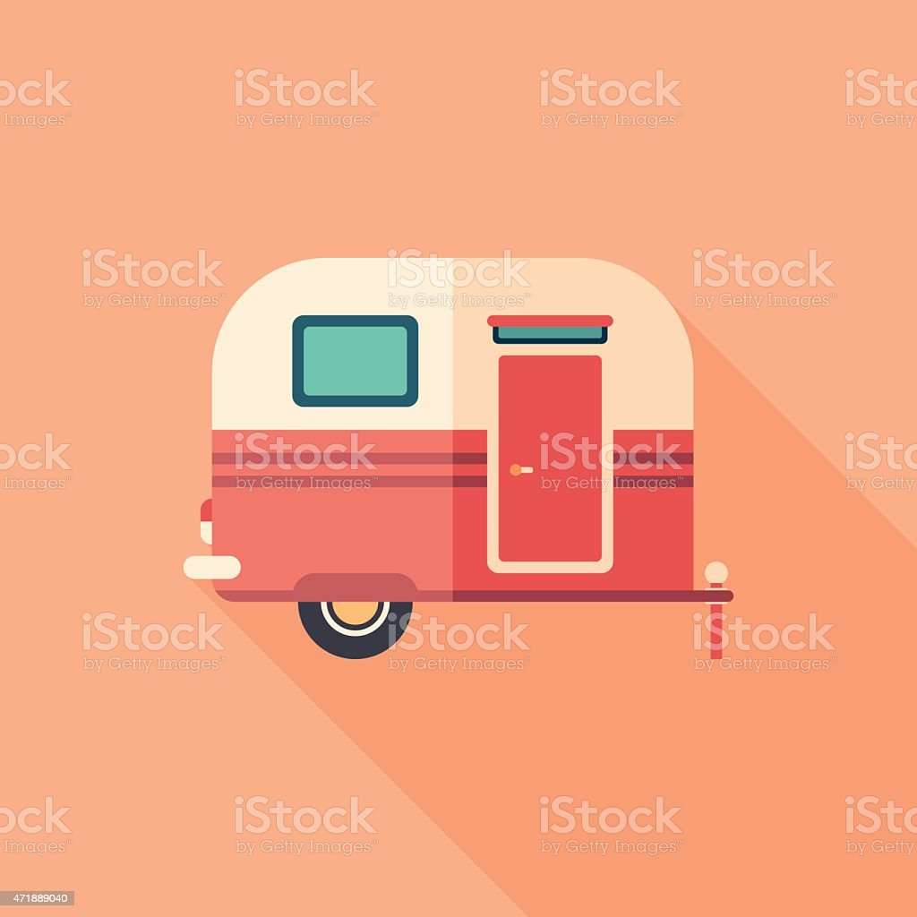 Travel trailer flat square icon with long shadows. vector art illustration
