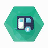 Travel trailer icon, Vector flat long shadow design. Transport c