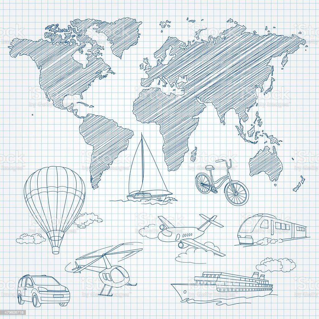 Transporte e mapa-múndi de desenho em linha, na página um bloco de notas vetor e ilustração royalty-free royalty-free