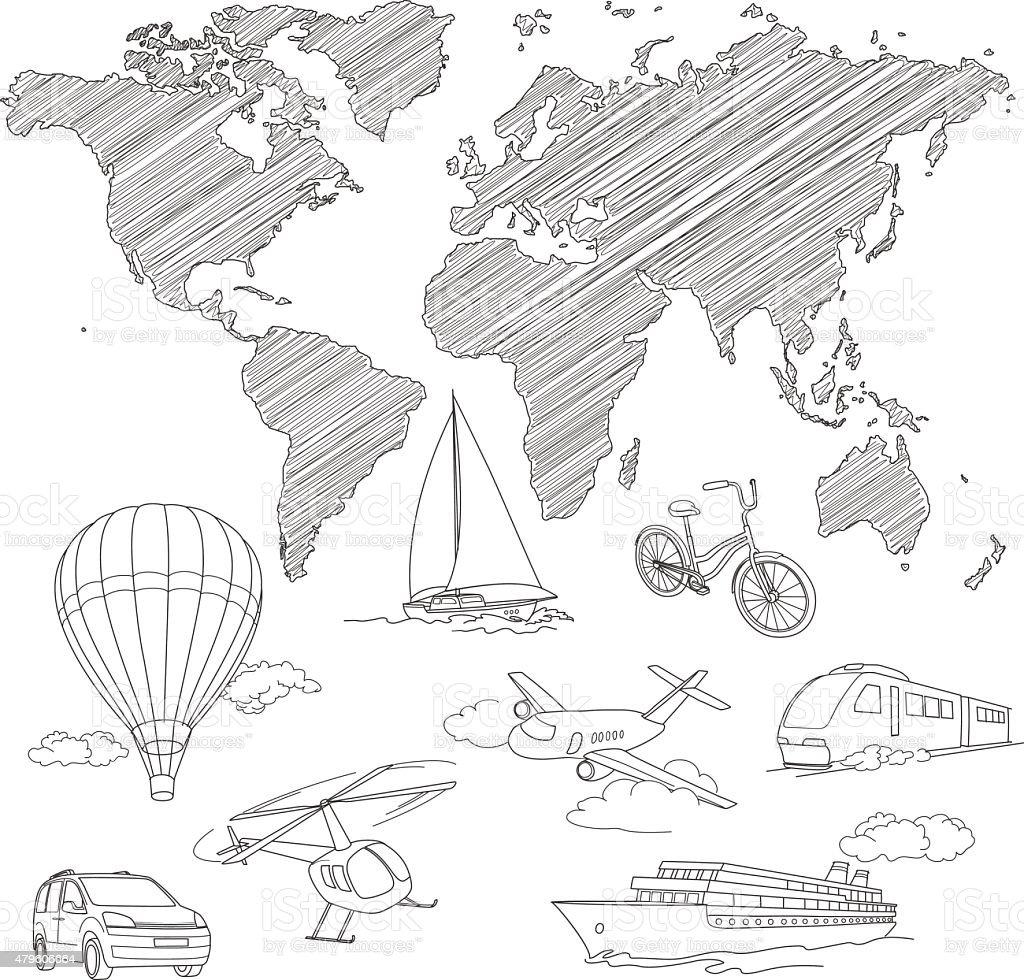 Transporte e mapa-múndi de desenho em vetor de linha vetor e ilustração royalty-free royalty-free