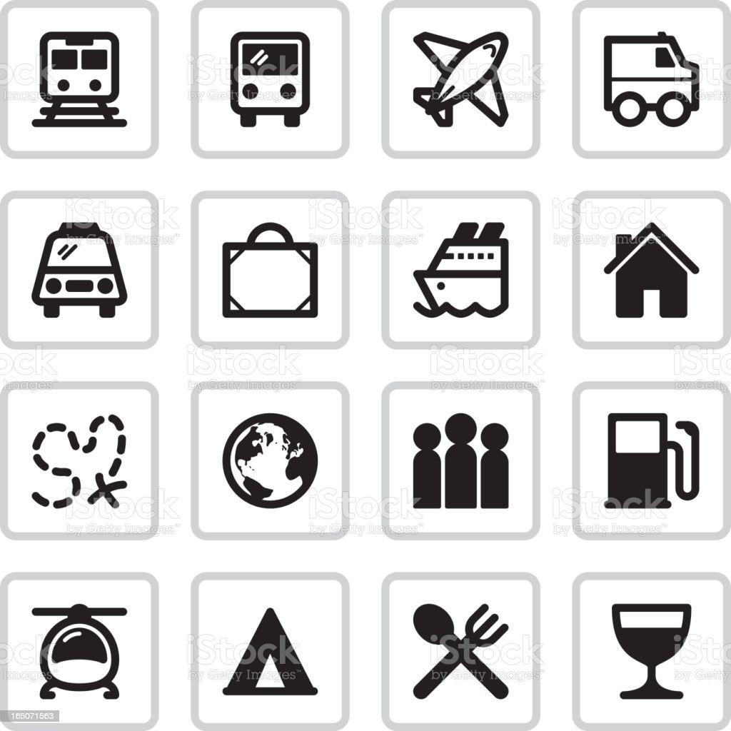 Travel & Transport Icons | Black royalty-free stock vector art