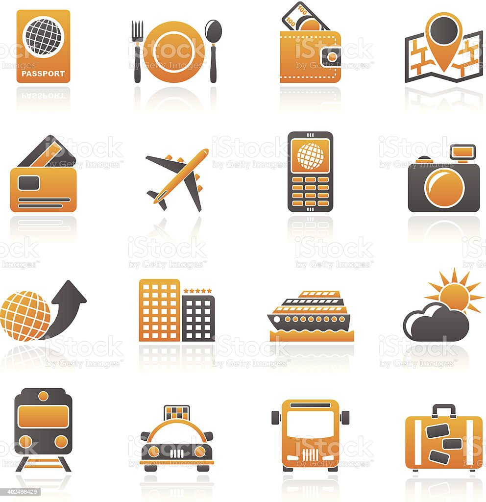travel, transportation and vacation icons royalty-free stock vector art