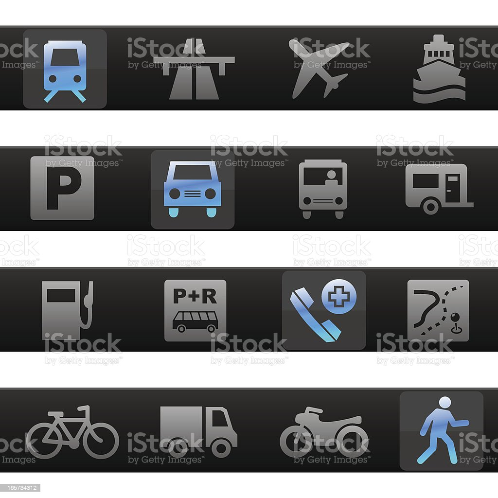 Travel & Transportation Toolbar Icons royalty-free stock vector art