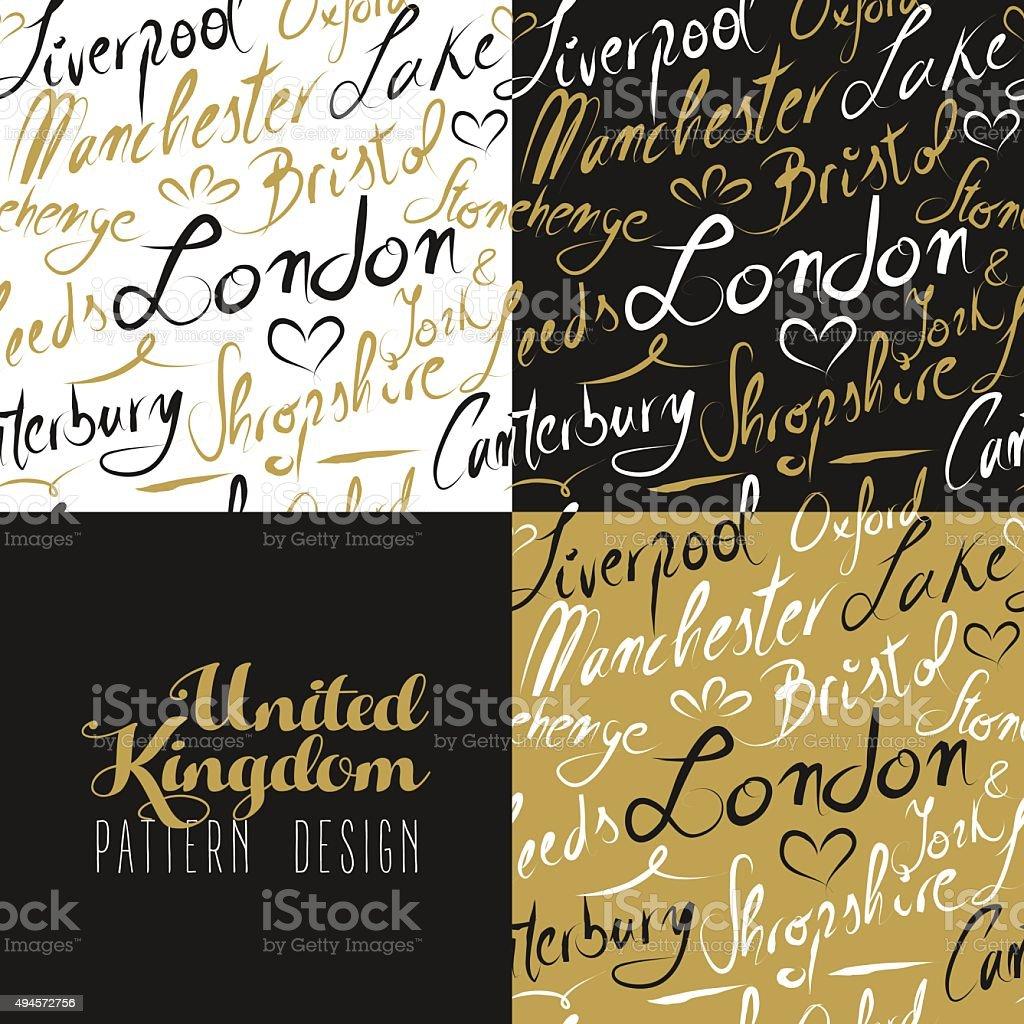 Travel uk london seamless pattern gold city text vector art illustration