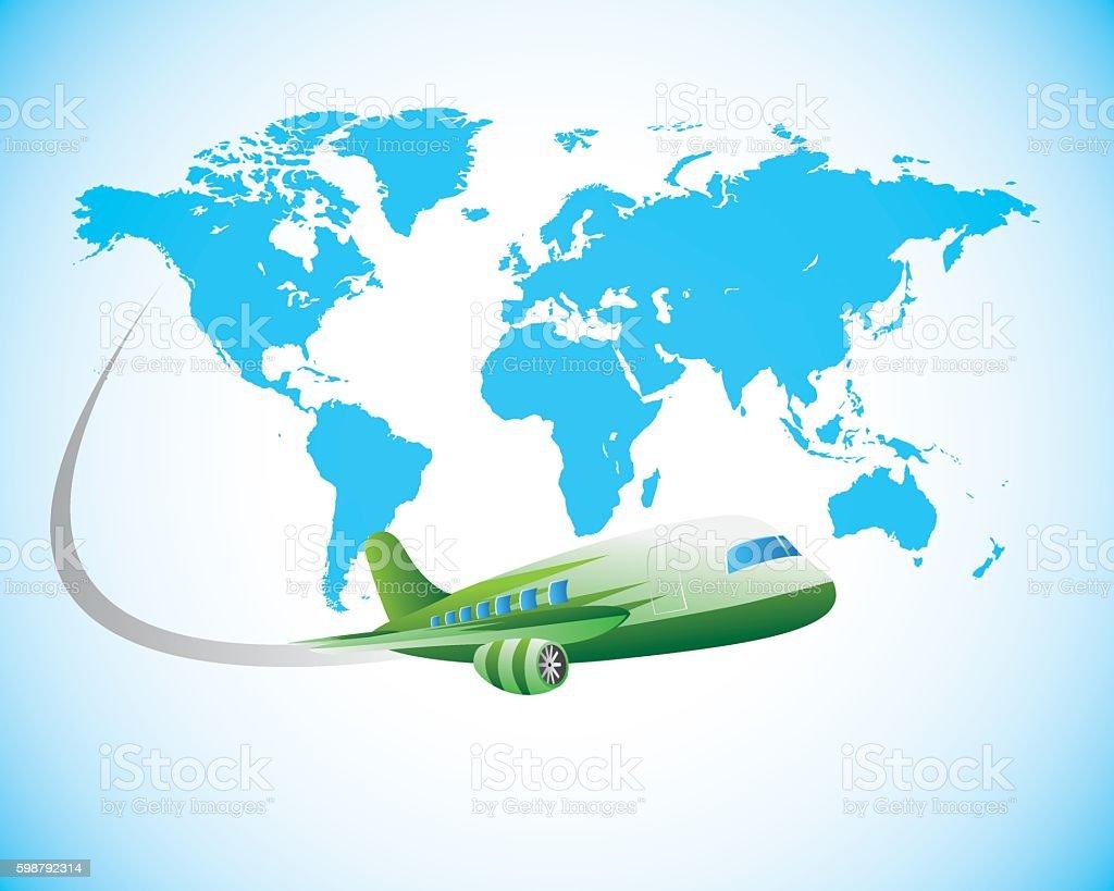 travel using airplane vector art illustration