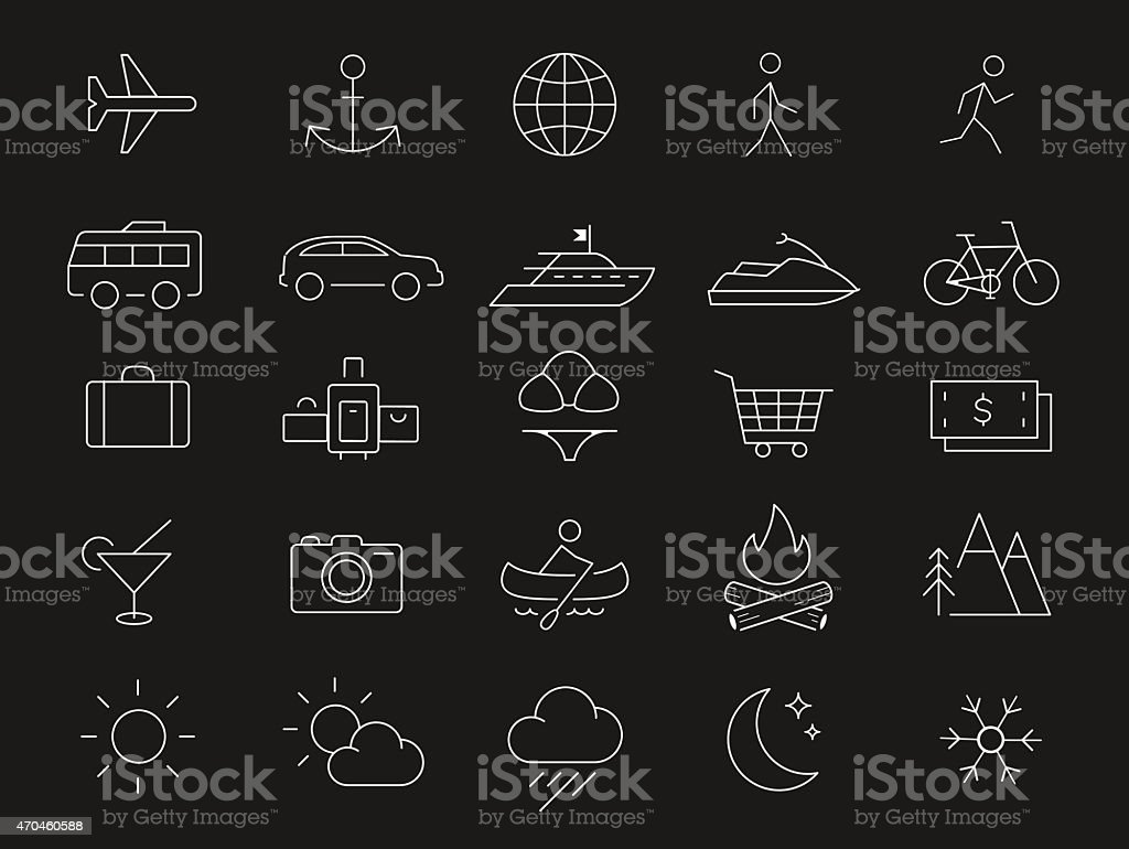 Travel vacation icons set vector art illustration