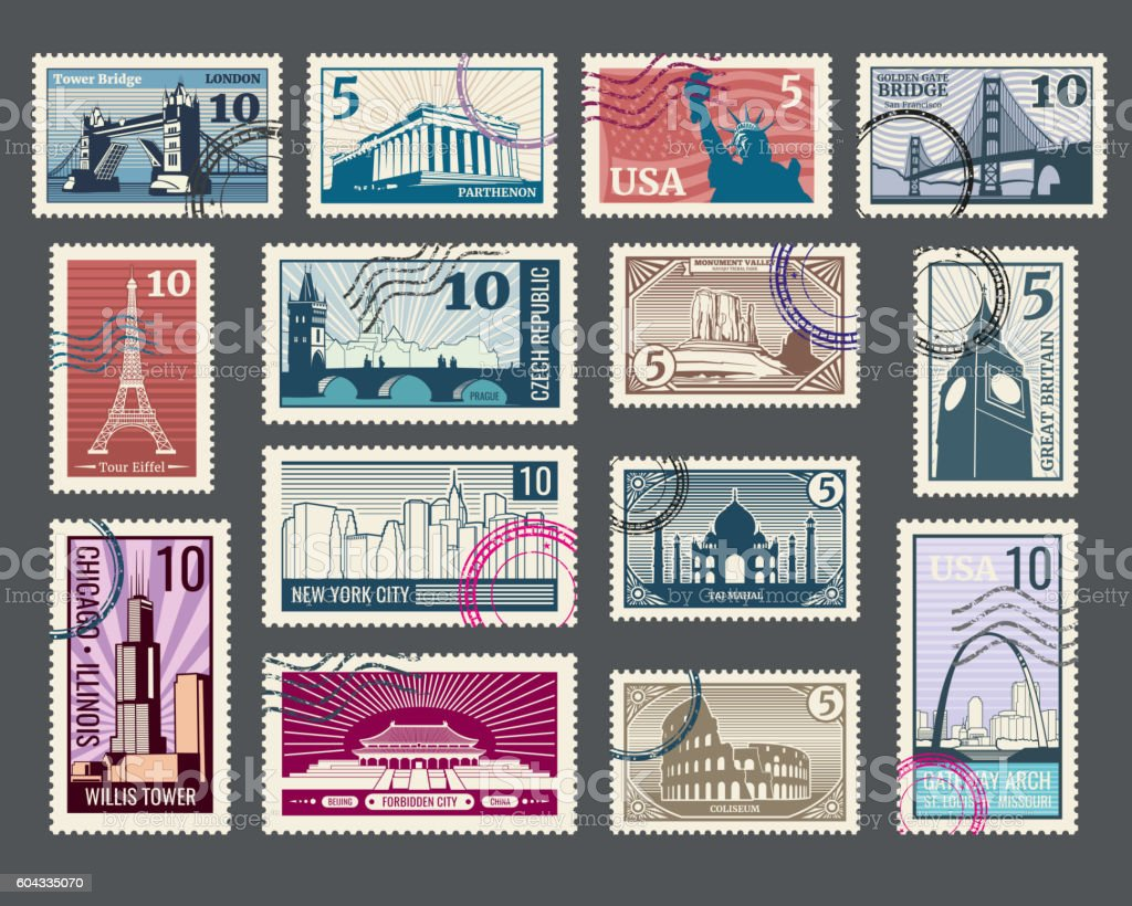 Travel, vacation, postage stamp with architecture and world landmarks vector art illustration