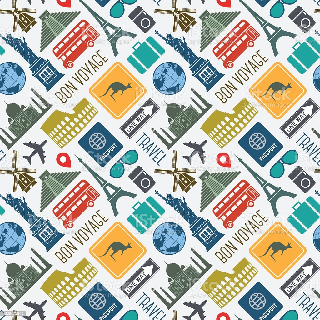 Travel vacation world landmarks icons seamless pattern vector art illustration