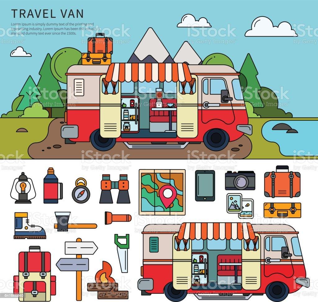 Travel van near the sea vector art illustration